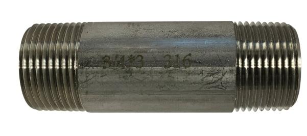 Stainless Steel Nipple 3/4 Diameter 316 S.S.