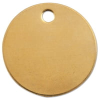 Brass Tags, 18 gauge, 1 in Diameter, 3/16 in Hole, Round