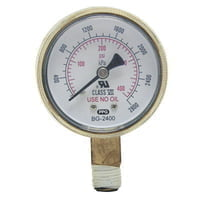 Replacement Gauges, 2 in, 4,000 psi, Brass, 1/4 in (NPT)