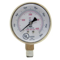 Replacement Gauges, 2 1/2 in, 4000 psi, Brass, 1/4 in (NPT)