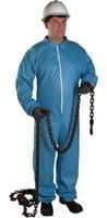 FR Protective Coveralls, Blue, X-Large, Collar, Zipper Front