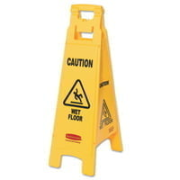 Floor Safety Signs, Caution Wet Floor, Yellow, 25X11