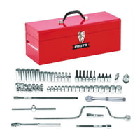 Torqueplus 57 Piece Metric Socket Sets, 3/8 in, 12 Point, Metric, w/Tool Box