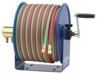 Twin-Line Welding Hose Reels, 100 ft, Hand Crank, Hose Included